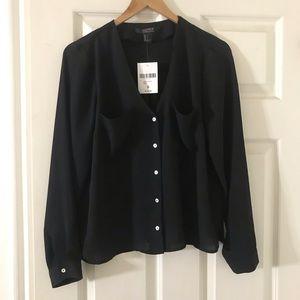 NWT Classic black button down blouse S